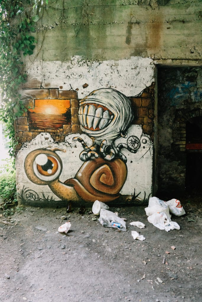 Abandoned Building IX, Personal Projects, Christina Harms Fotografie, Wand mit Alien-artigem Graffiti
