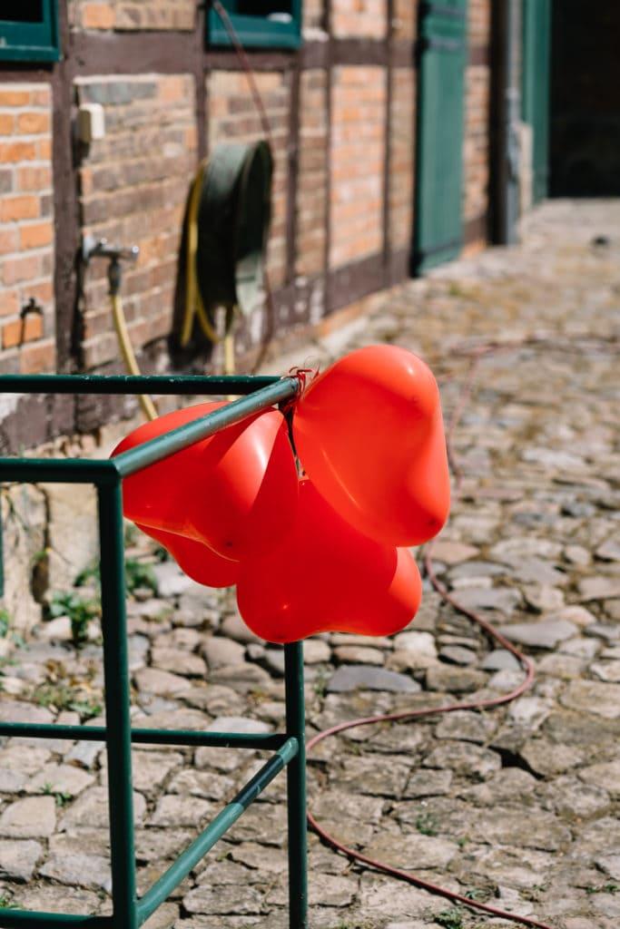 Herzchenballons als Hochzeitsdekoration auf dem Gut Altenrode.